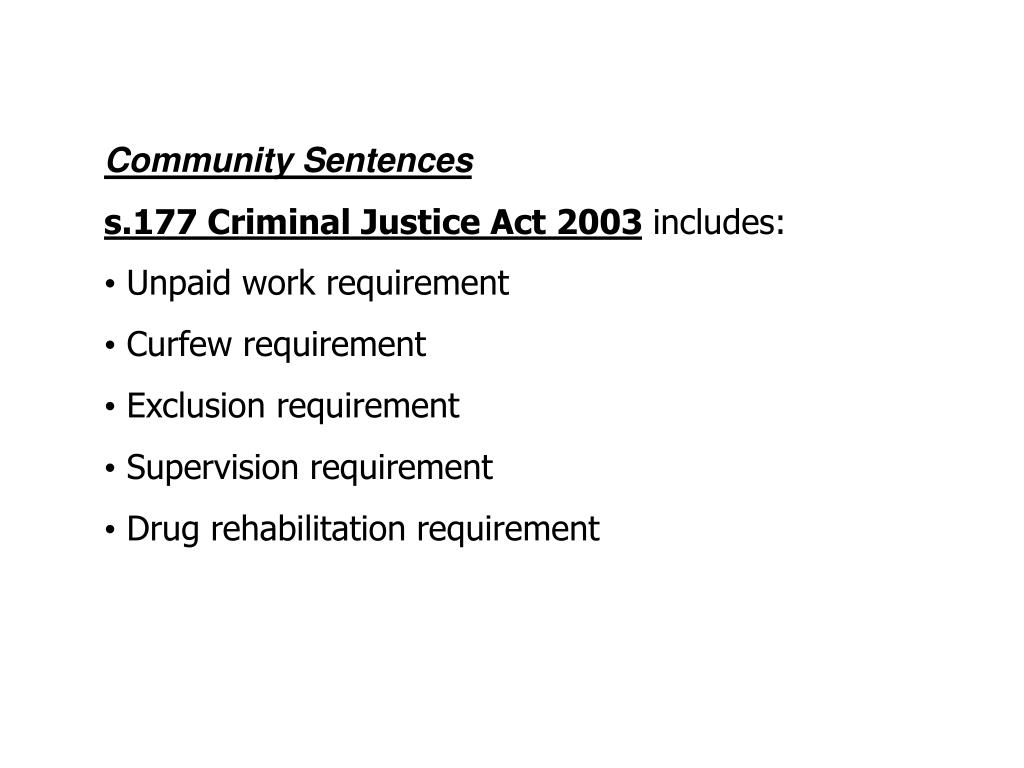 Community Sentences