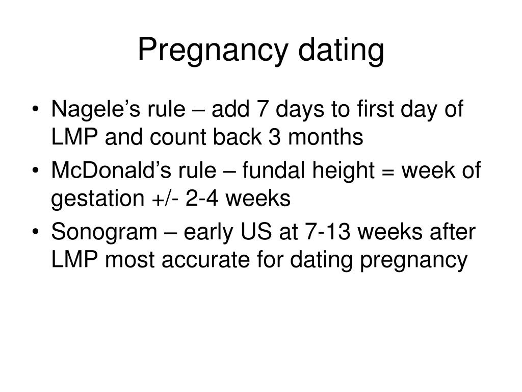 Pregnancy dating