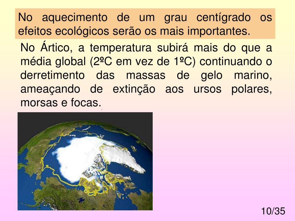 No aquecimento de um grau centígrado os efeitos ecológicos serão os mais importantes.