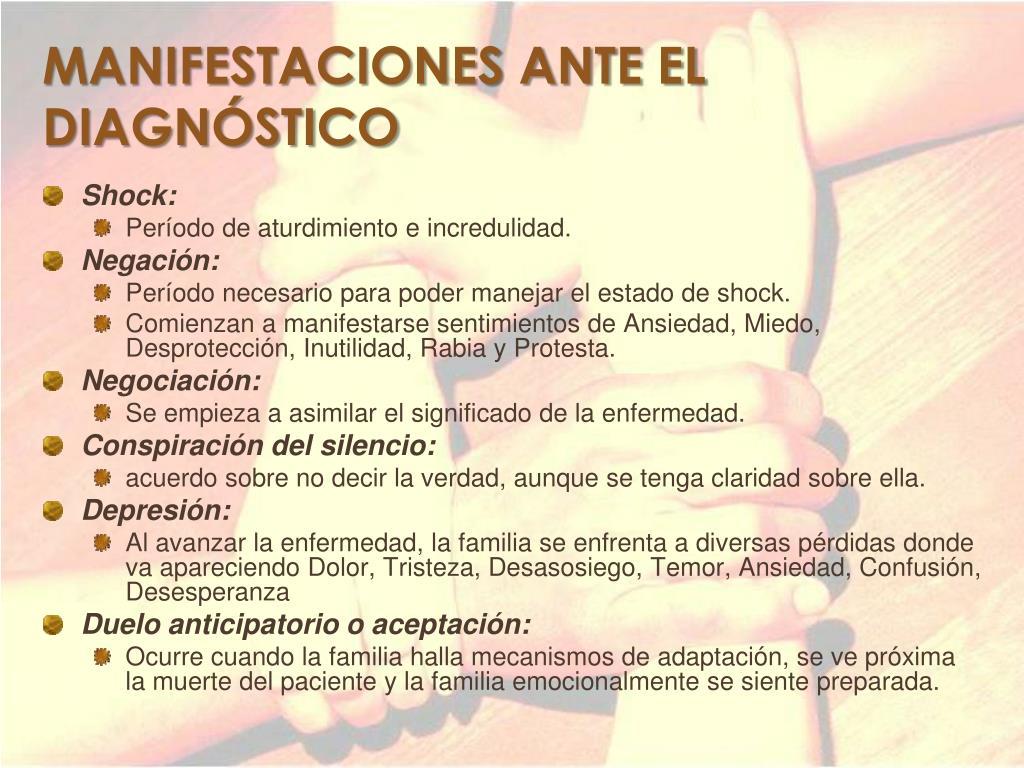 MANIFESTACIONES ANTE EL DIAGNÓSTICO