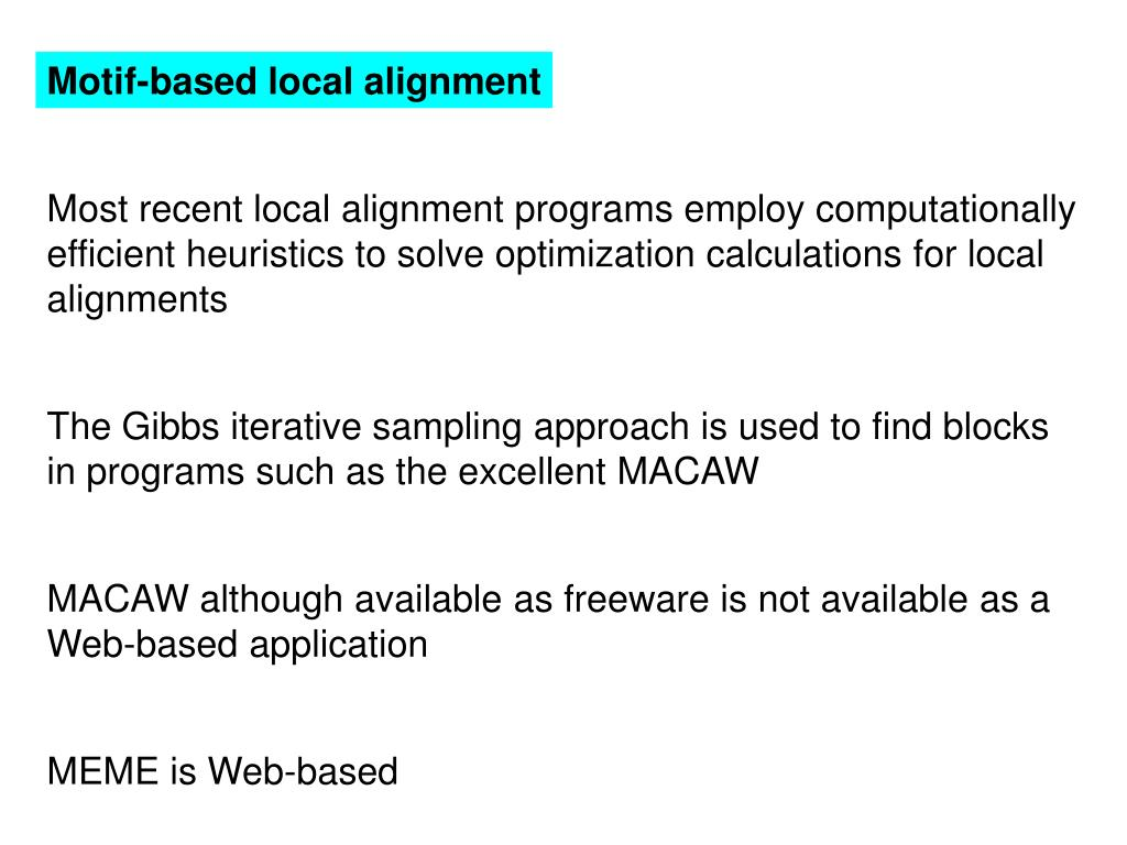 Motif-based local alignment