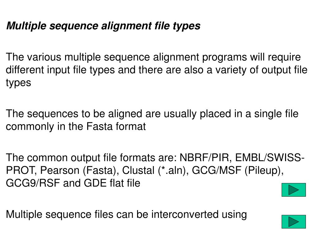 Multiple sequence alignment file types