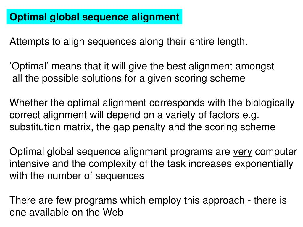 Optimal global sequence alignment