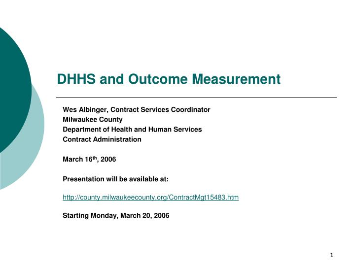 Dhhs and outcome measurement l.jpg