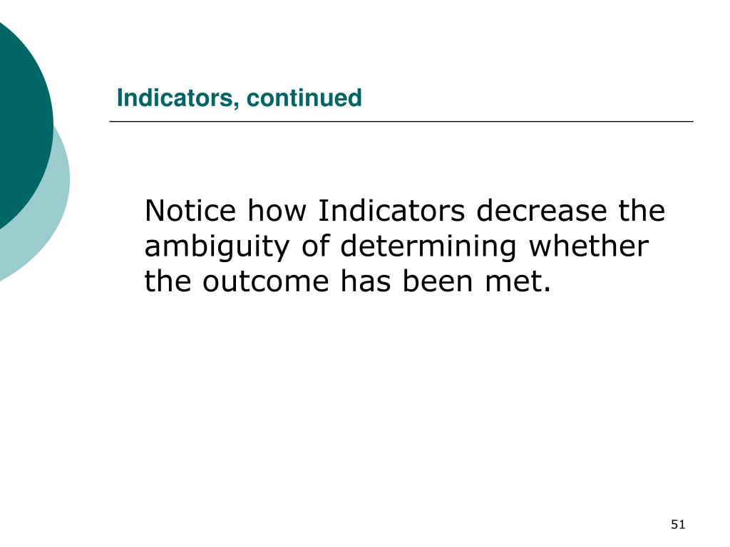 Indicators, continued
