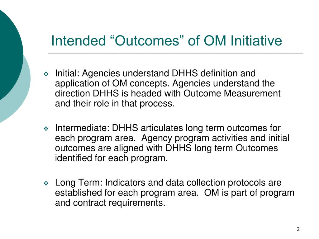 "Intended ""Outcomes"" of OM Initiative"