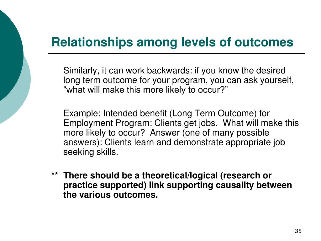 Relationships among levels of outcomes