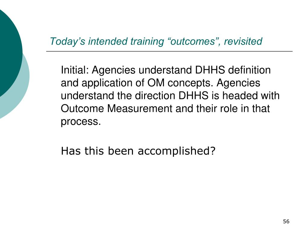 "Today's intended training ""outcomes"", revisited"
