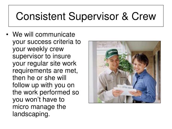 Consistent Supervisor & Crew