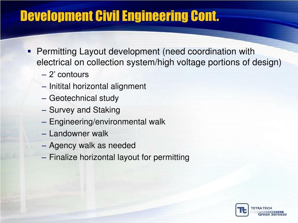 Development Civil Engineering Cont.