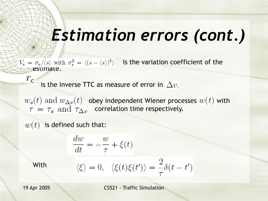 Estimation errors (cont.)