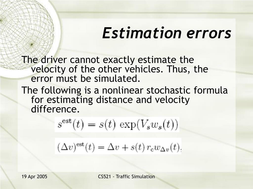 Estimation errors