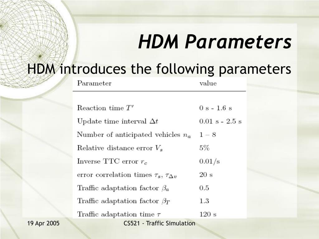 HDM Parameters