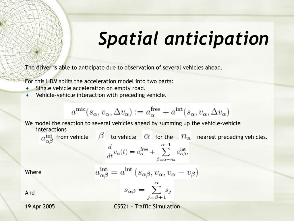 Spatial anticipation