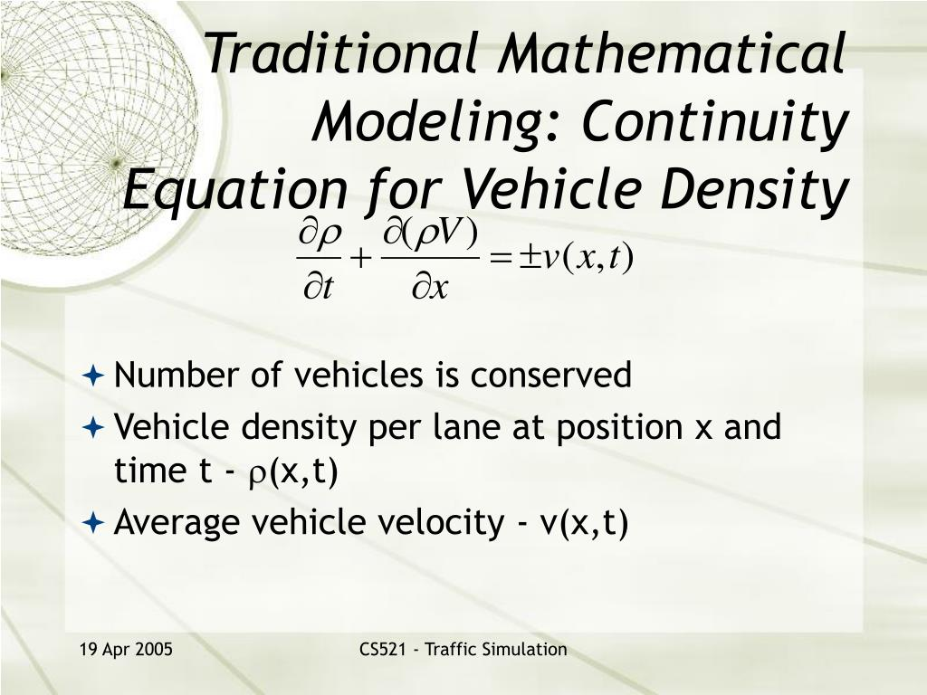 Traditional Mathematical Modeling: Continuity Equation for Vehicle Density