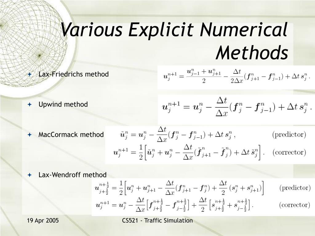 Various Explicit Numerical Methods