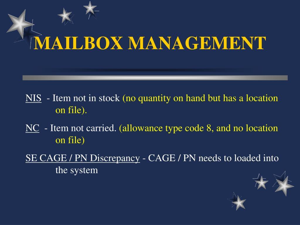 MAILBOX MANAGEMENT