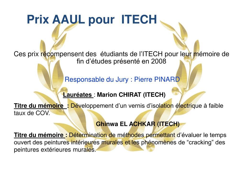 Prix AAUL pour  ITECH