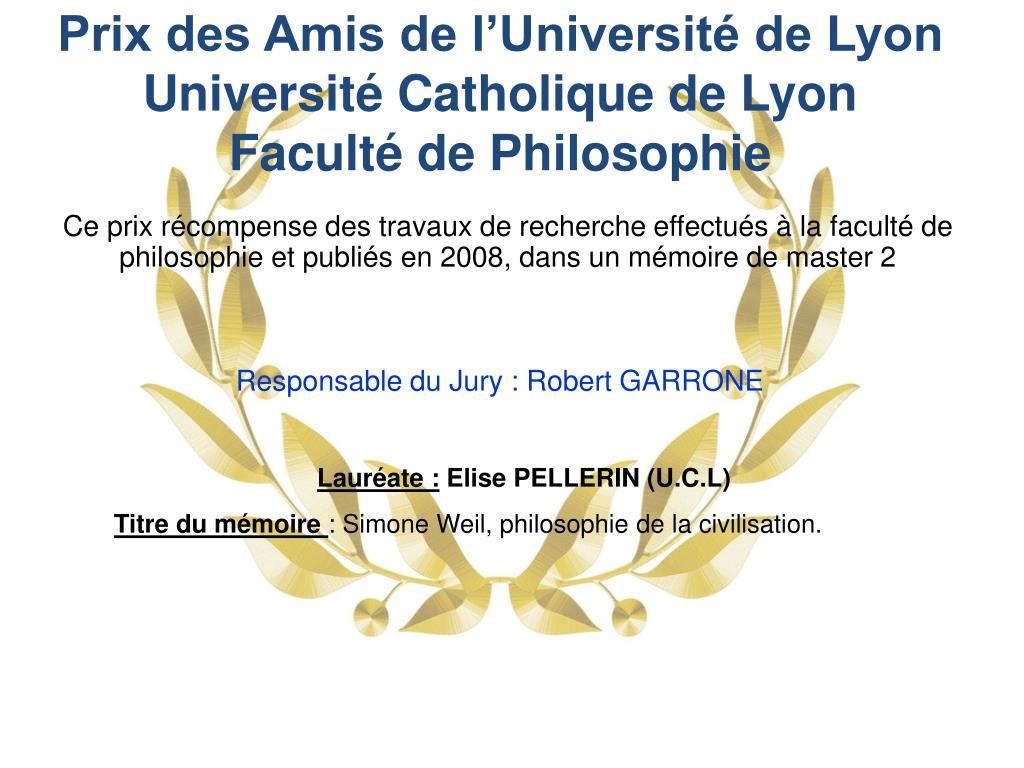 Prix des Amis de l'Université de Lyon Université Catholique de Lyon