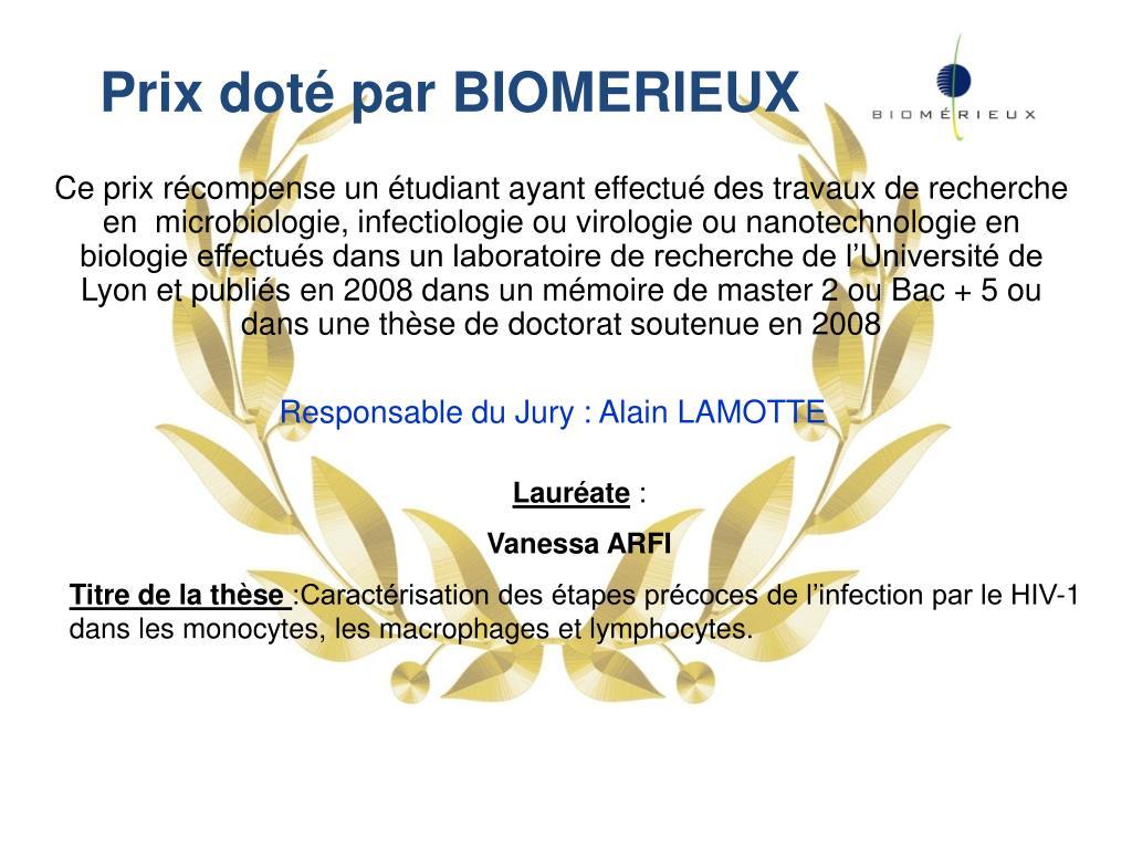 Prix doté par BIOMERIEUX