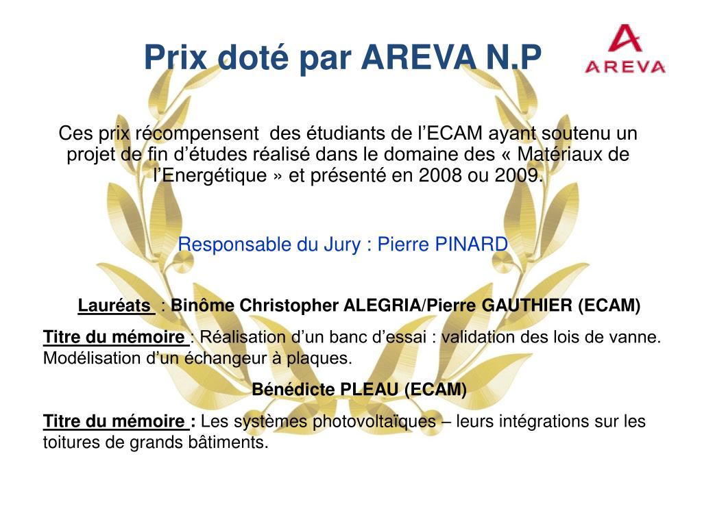 Prix doté par AREVA N.P