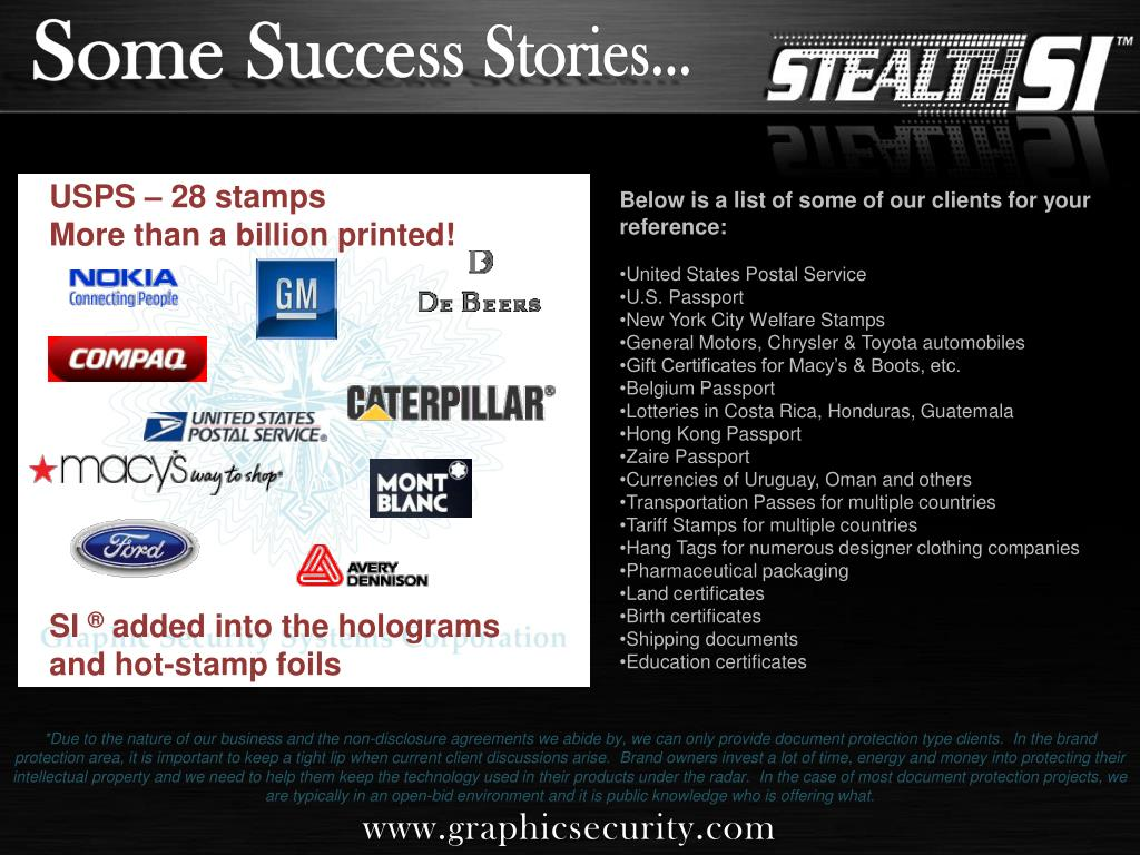 Some Success Stories…