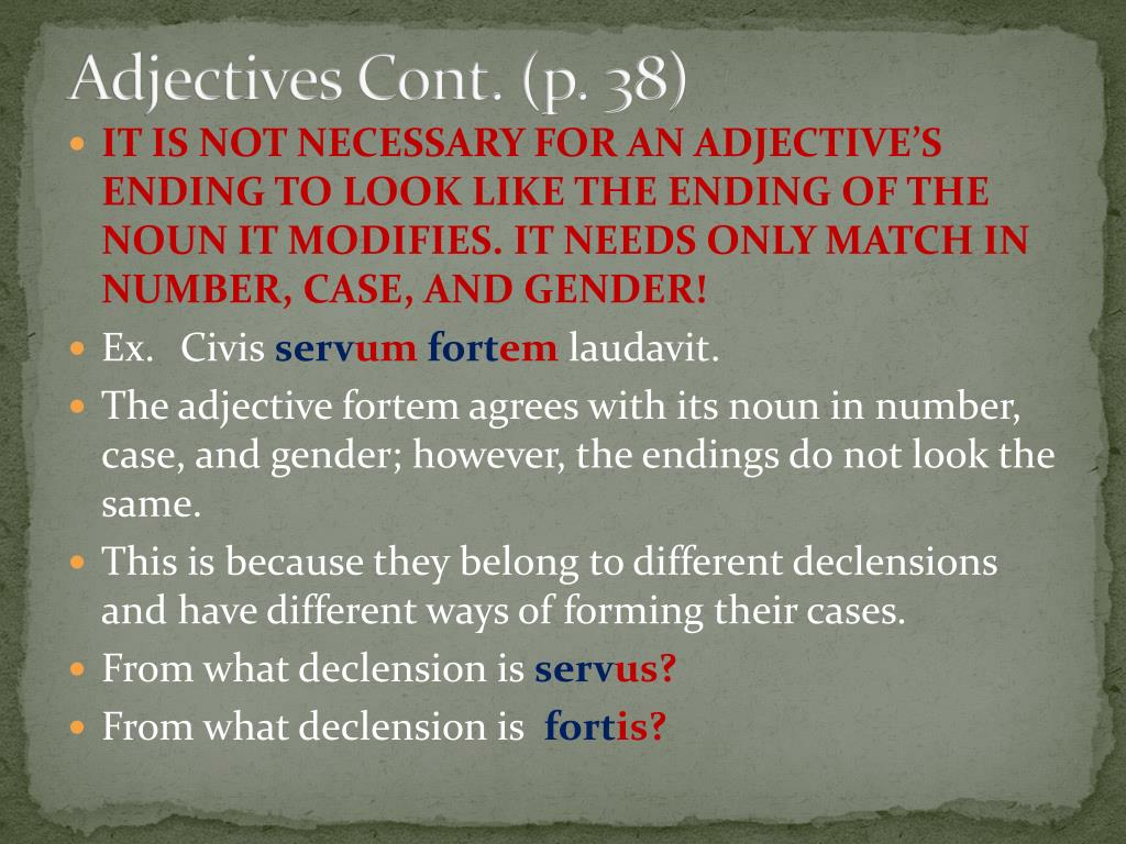 Adjectives Cont. (p. 38)