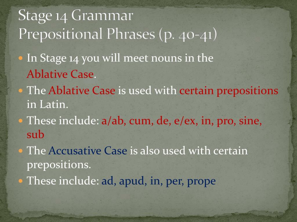 Stage 14 Grammar