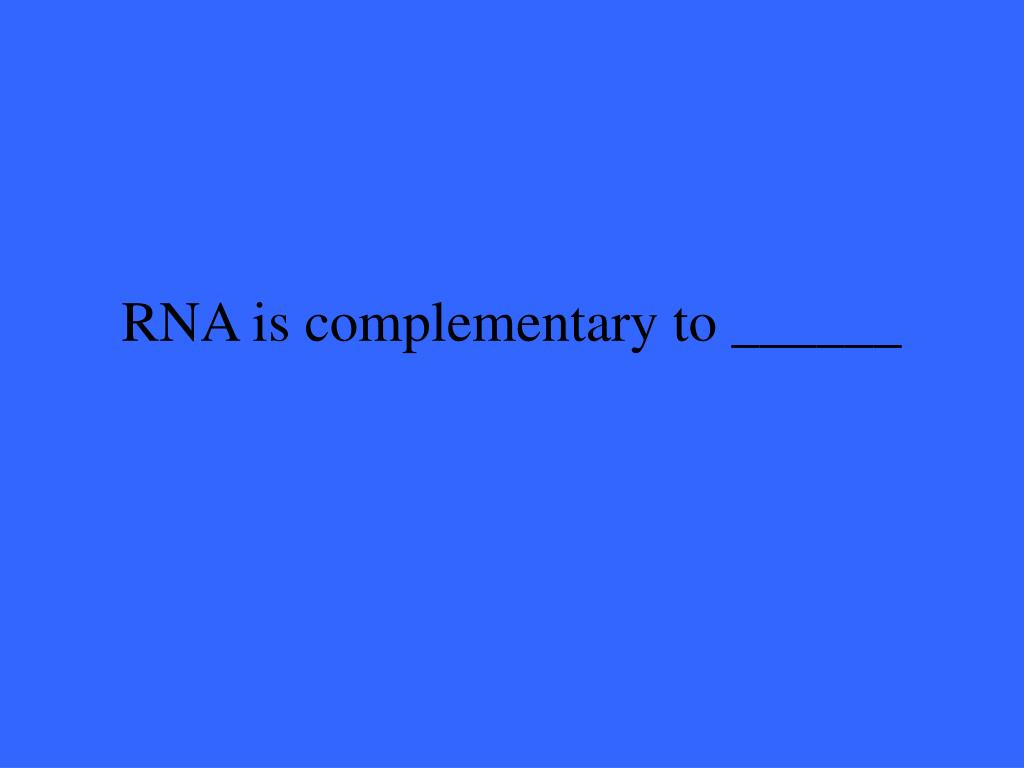 RNA is complementary to ______