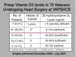 preop vitamin d3 levels in 73 veterans undergoing heart surgery at vapshcs