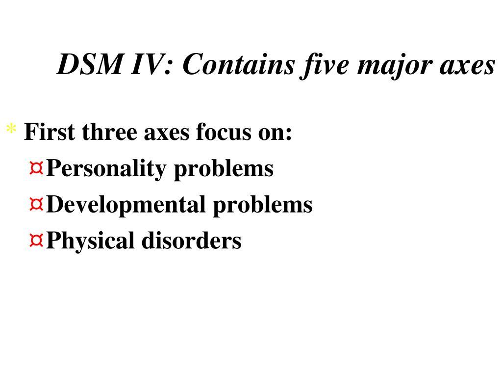 DSM IV: Contains five major axes