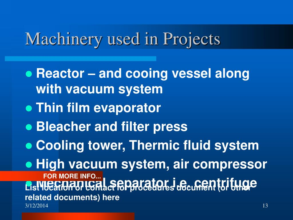 Machinery used in Projects