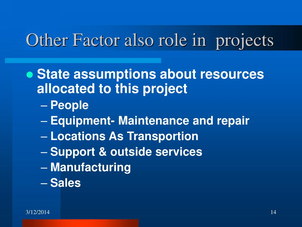 Other Factor also role in  projects