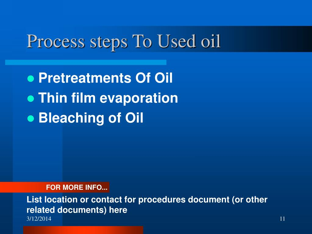 Process steps To Used oil