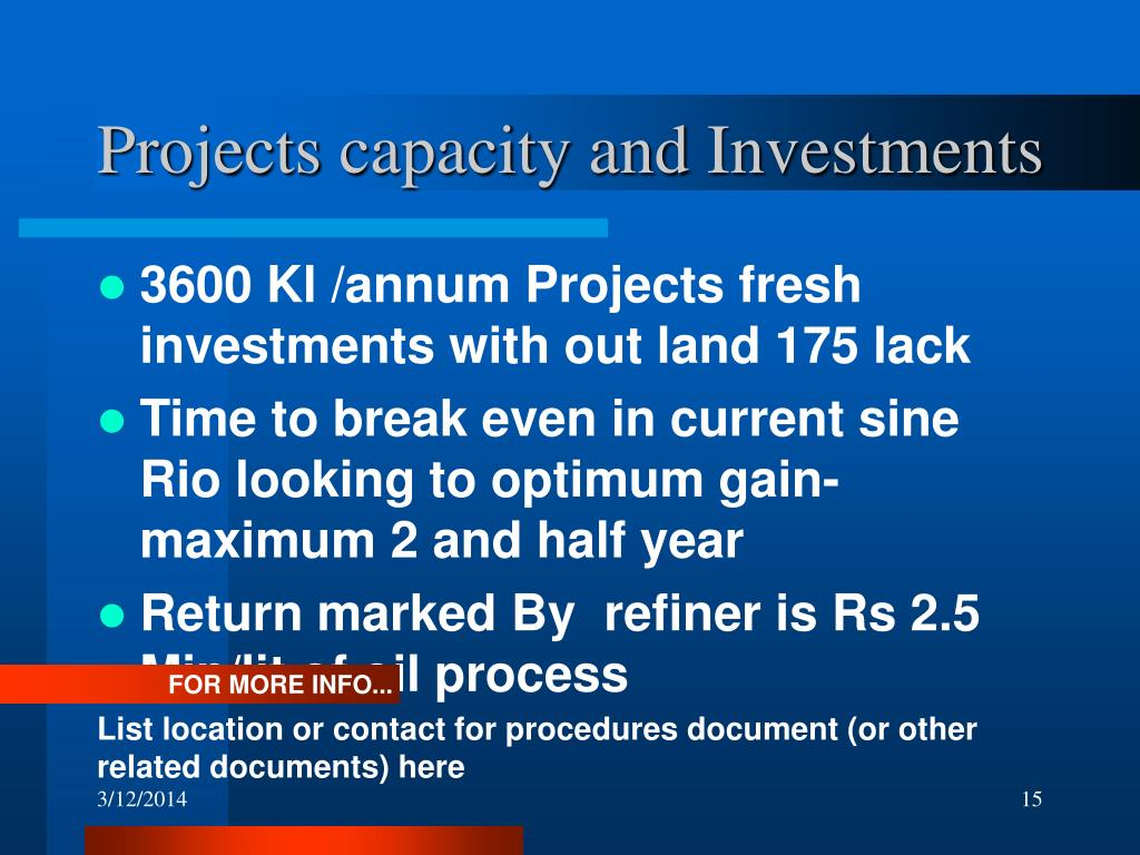 Projects capacity and Investments