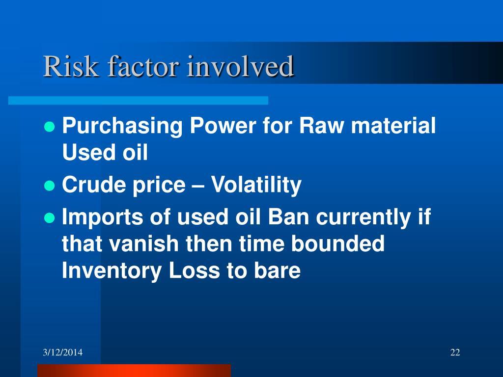 Risk factor involved