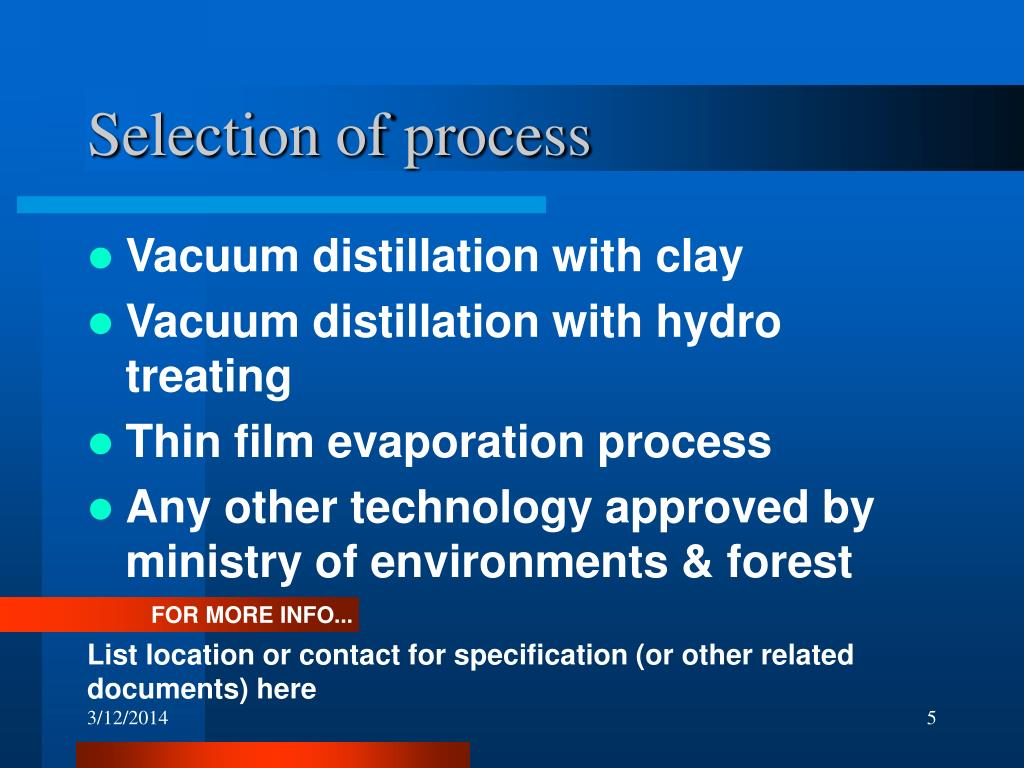 Selection of process