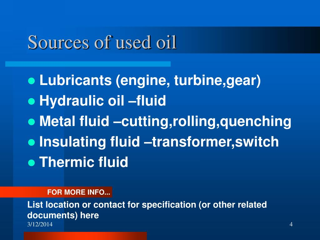 Sources of used oil