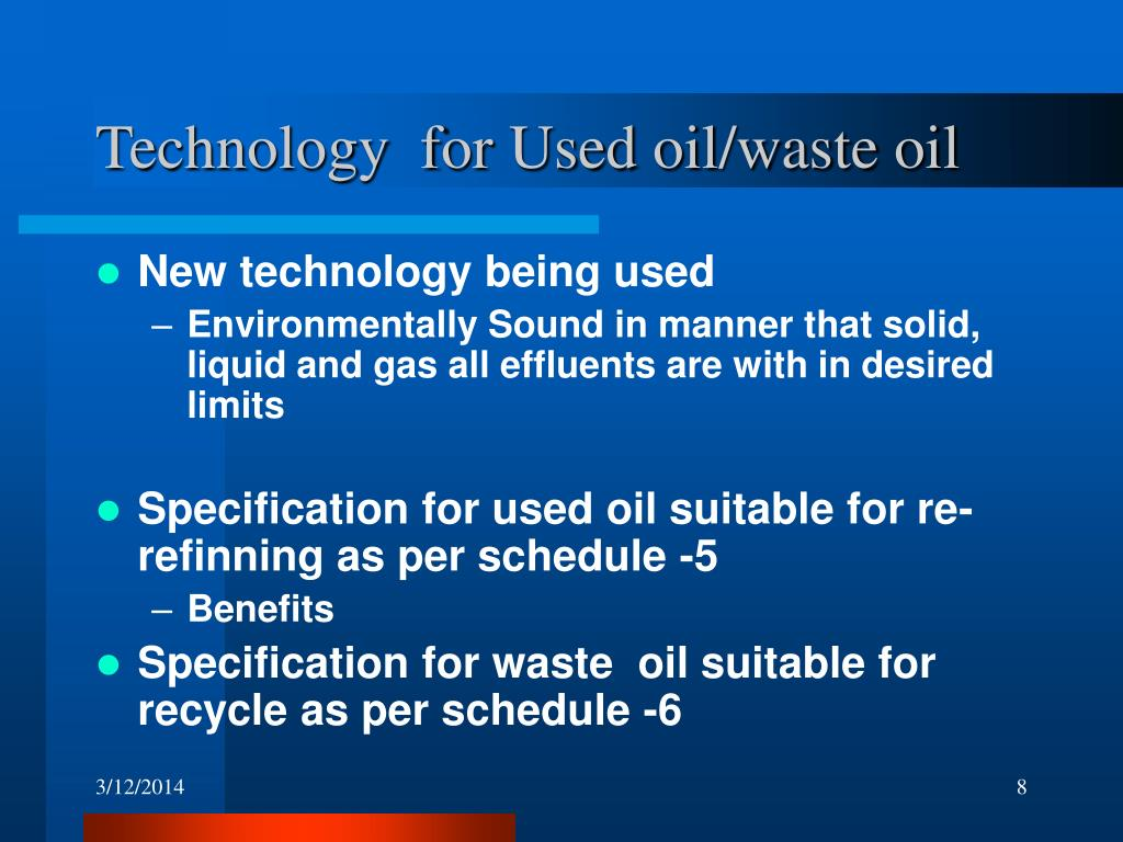 Technology  for Used oil/waste oil