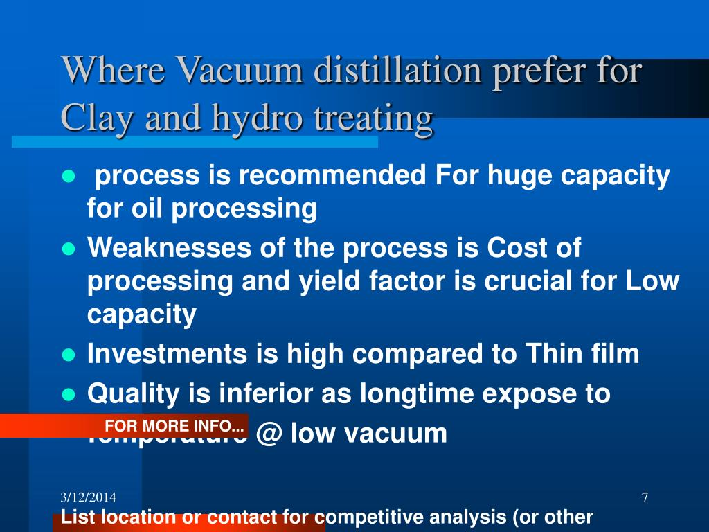 Where Vacuum distillation prefer for Clay and hydro treating
