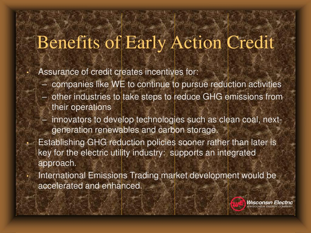 Benefits of Early Action Credit