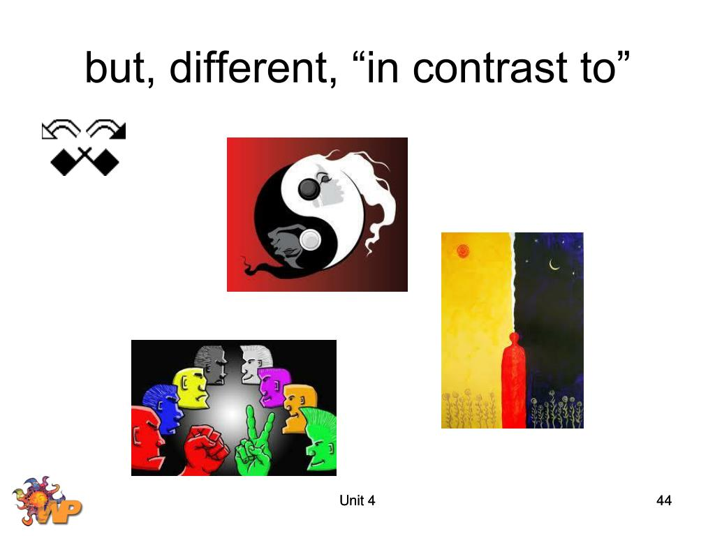 "but, different, ""in contrast to"""