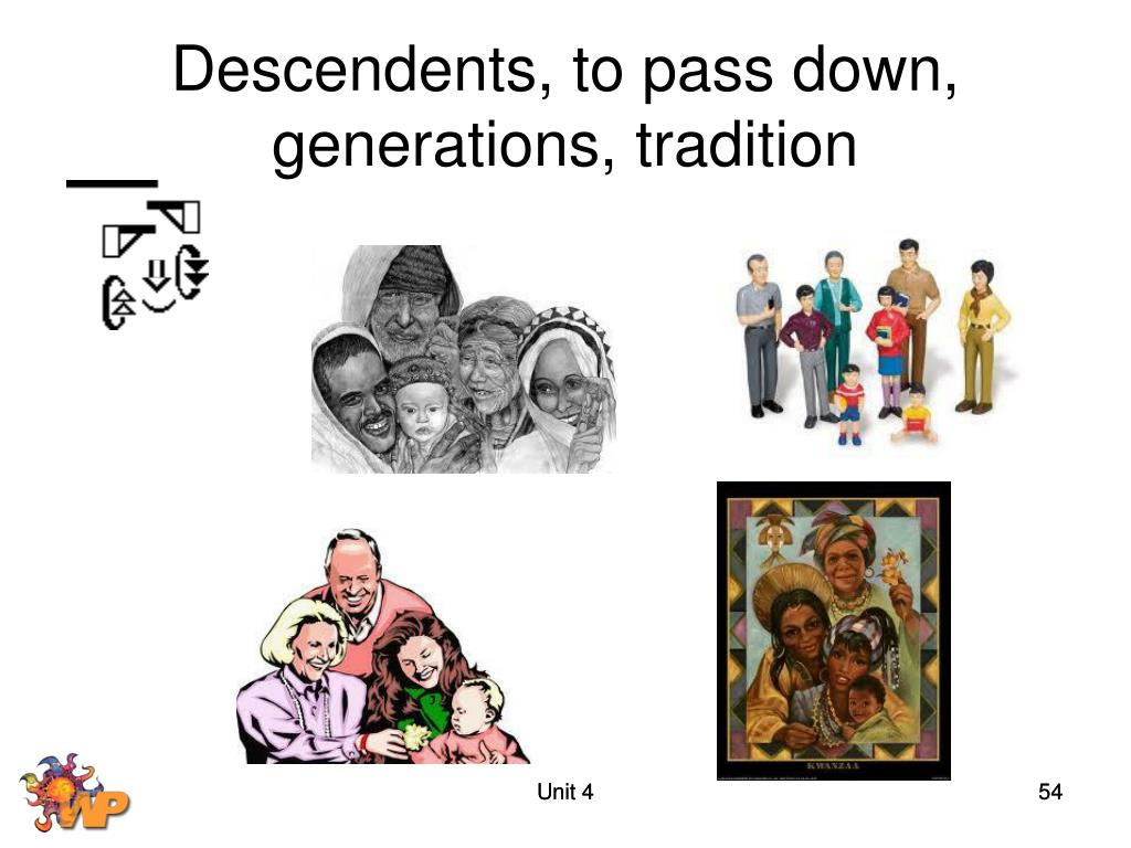 Descendents, to pass down, generations, tradition