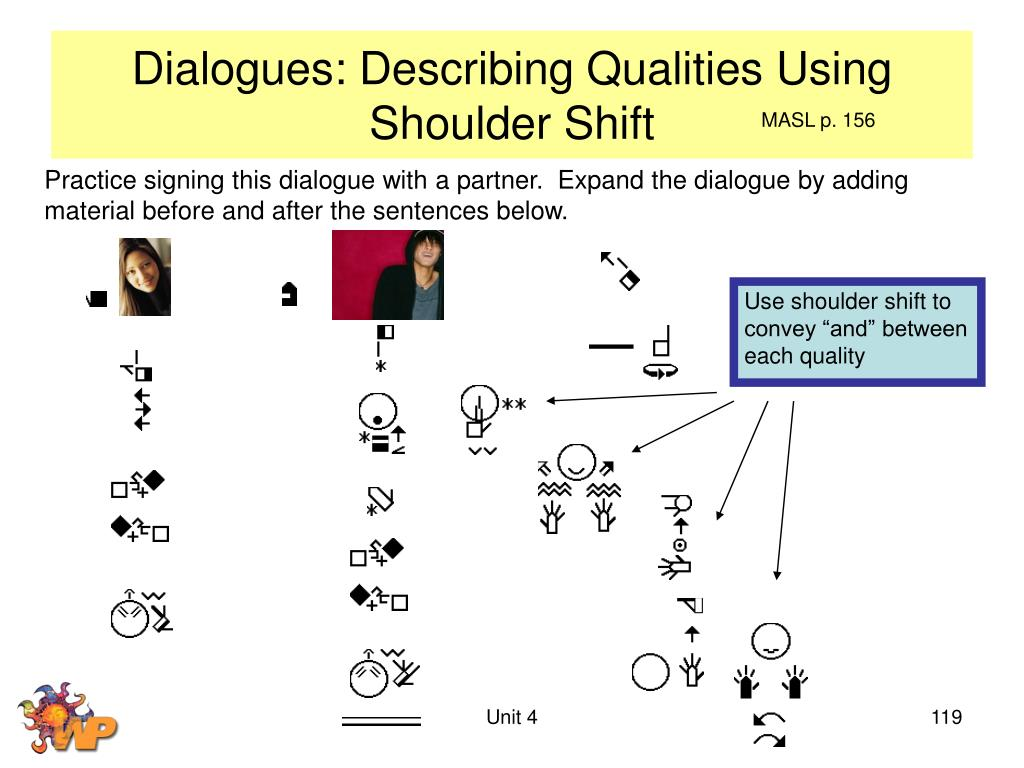 Dialogues: Describing Qualities Using Shoulder Shift