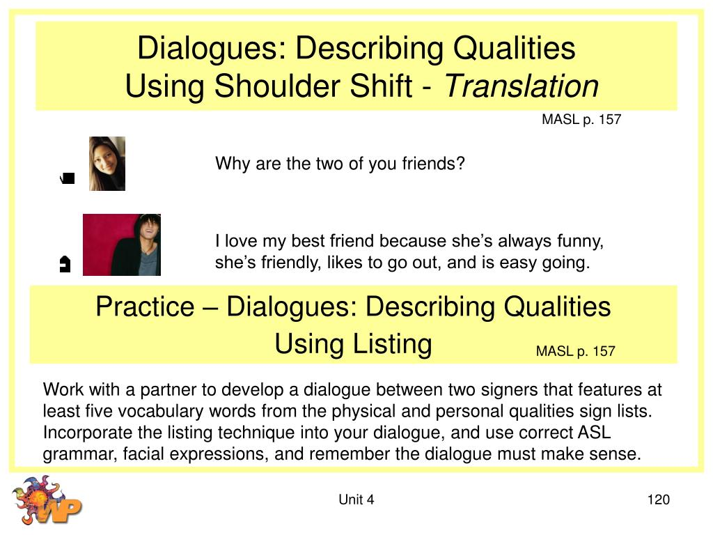 Dialogues: Describing Qualities