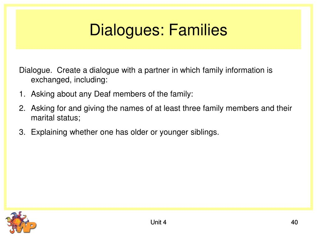 Dialogues: Families