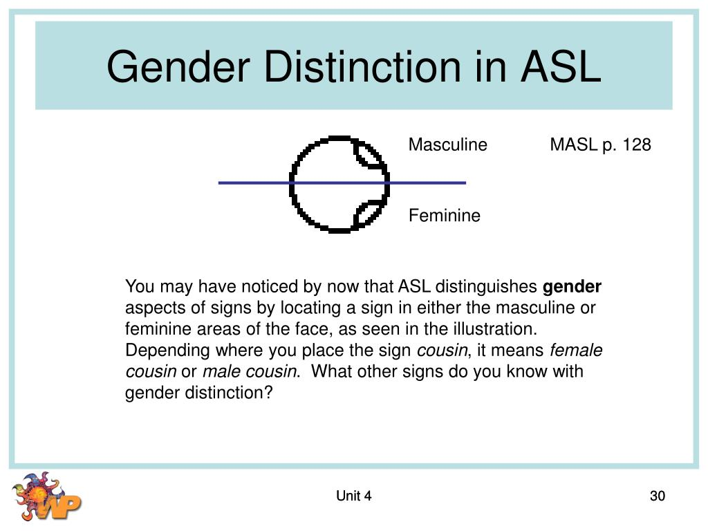 Gender Distinction in ASL