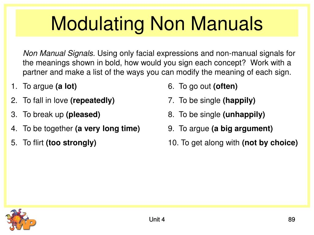 Modulating Non Manuals