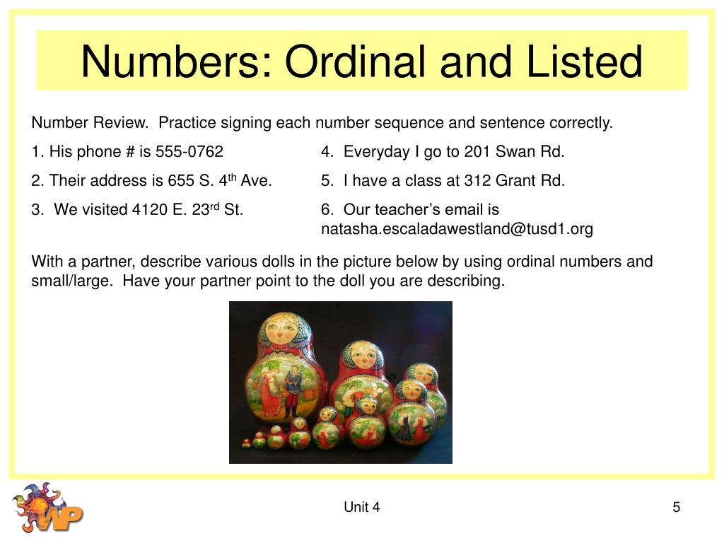 Numbers: Ordinal and Listed