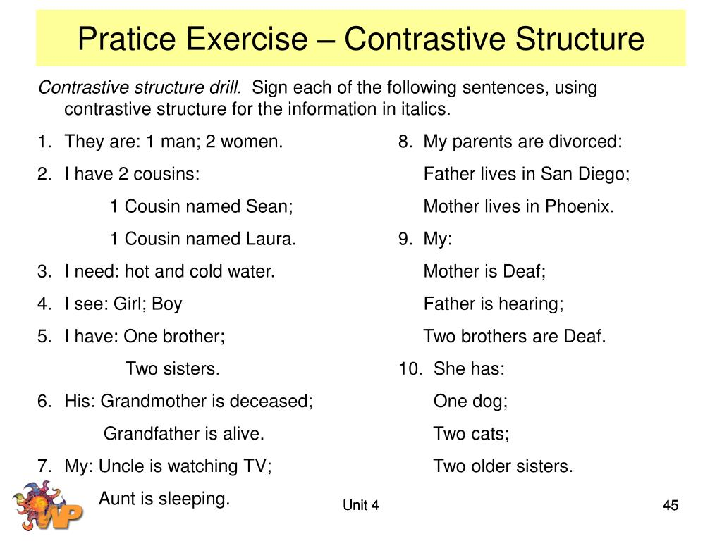 Pratice Exercise – Contrastive Structure